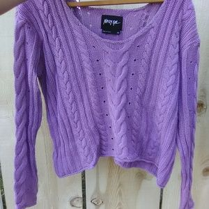 Nasty Gal lavender cable knit cropped sweater xs